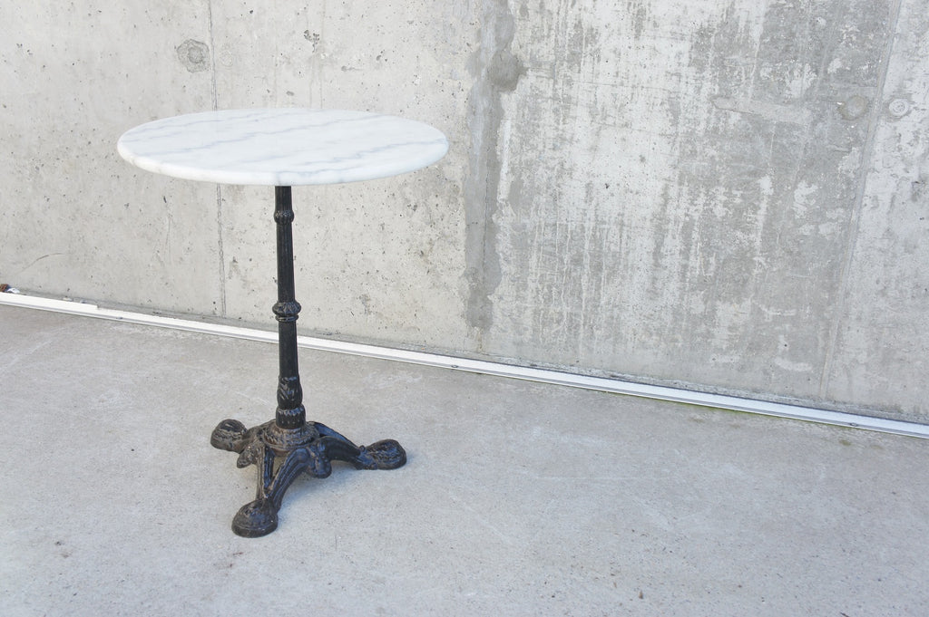 Circular Marble Top and Cast Iron Pedestal Bistro Table