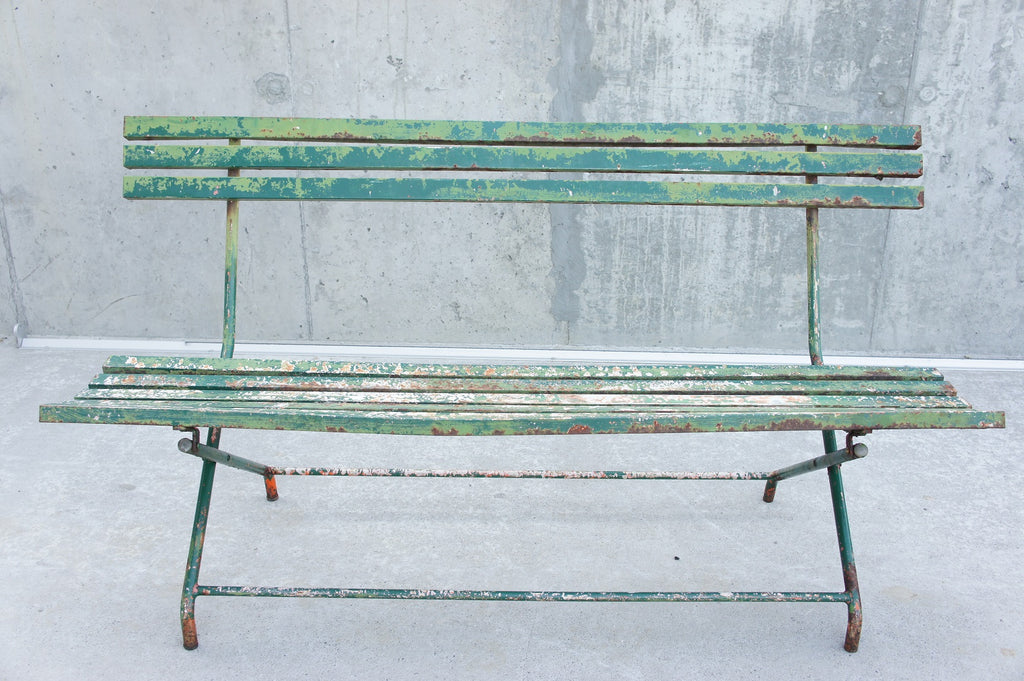 Folding Metal Bench with Original Patina