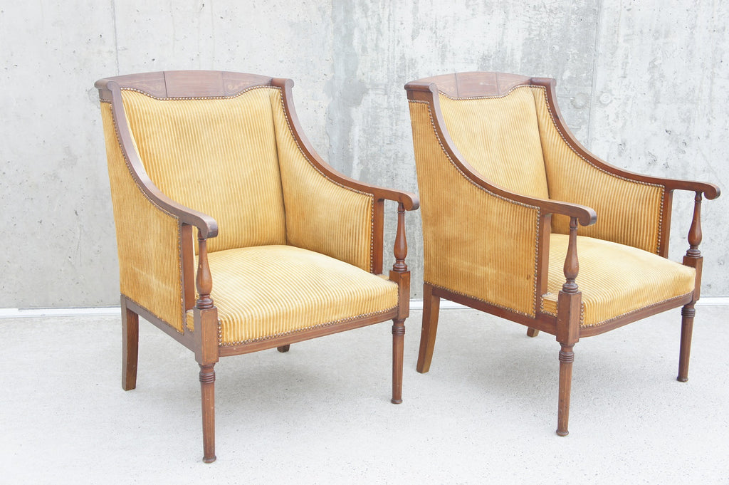 1930's Upholstered Gold Velvet Inlaid French Pair of Armchairs