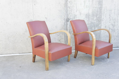 Pair of Mid Century Moustache Back Bentwood Lounge Chairs to Reupholster