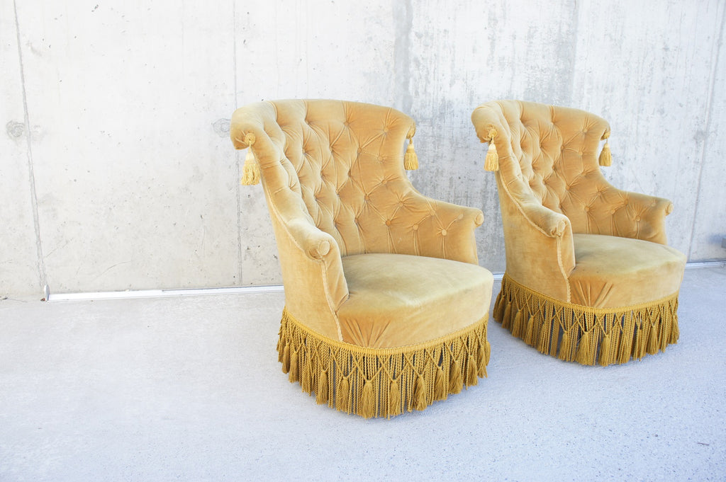 Pair 1950's Gold Velvet Armchairs to Reupholster