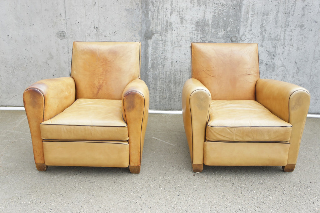 Pair of French Square Backed Light Leather Club Chairs