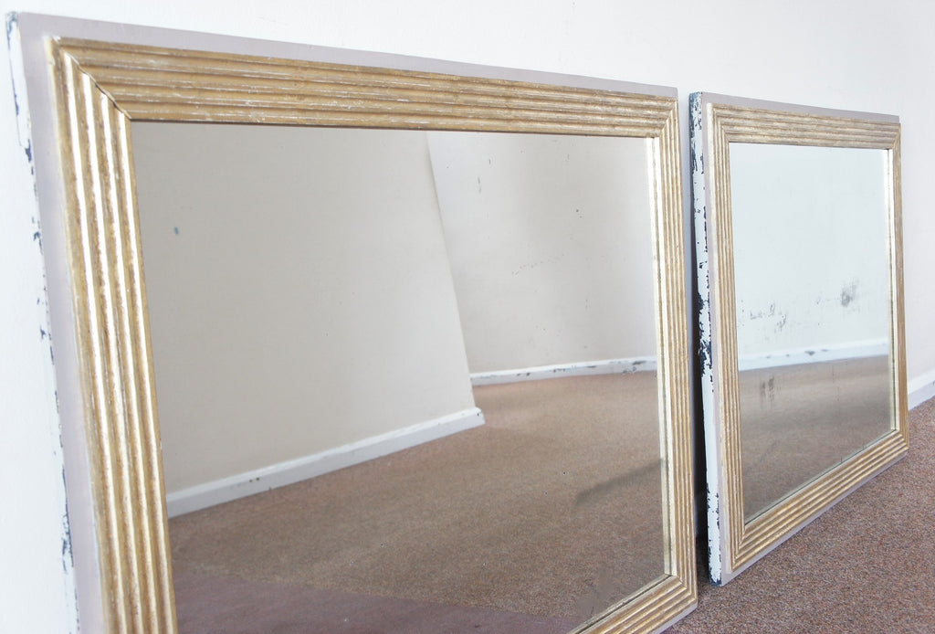 Pair of Mercury Vintage Panel Rectangular Mirrors