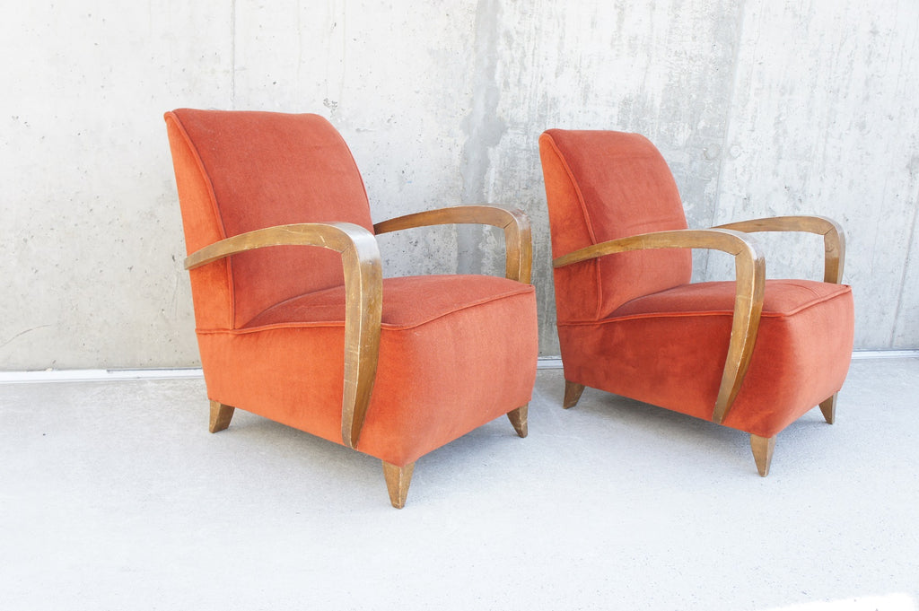 Pair of Rust Coloured Velvet Lounge Chairs to Reupholster