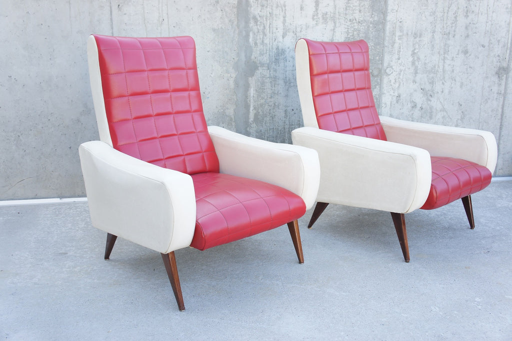 Pair Mid Century Red and White Vynal Armchairs to reupholster
