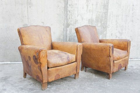 Pair of Leather Moustache Back Club Chairs