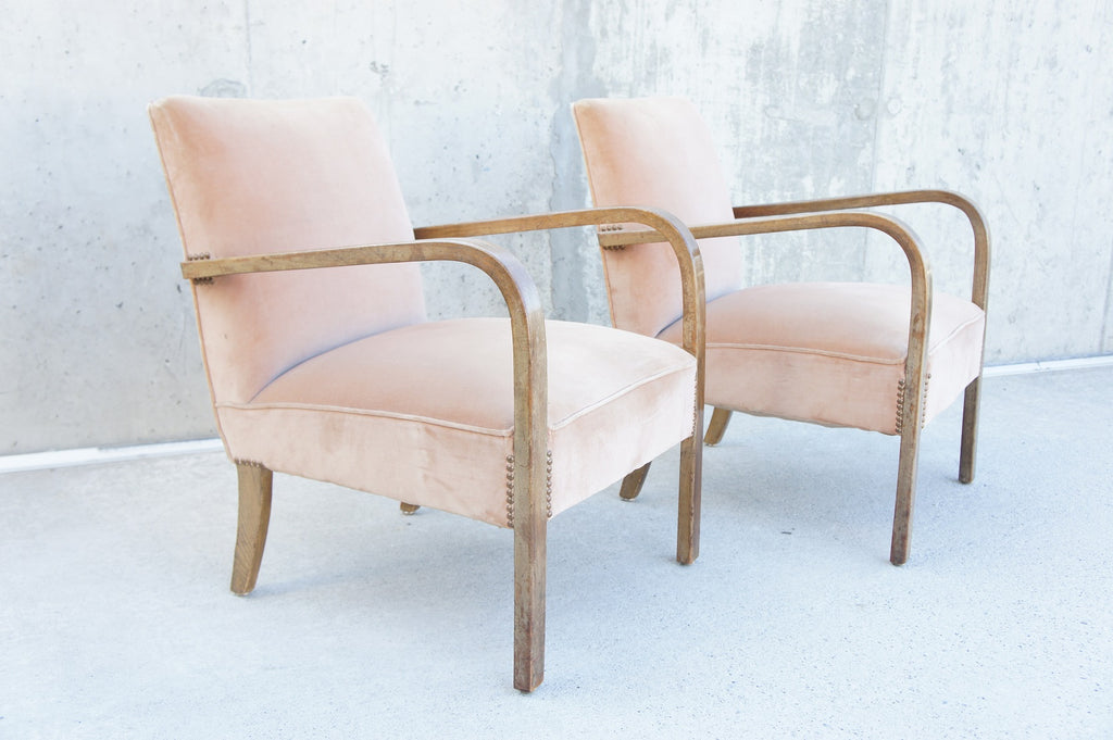 Pair of Pink Mid Century Bentwood Lounge Chairs to Reupholster