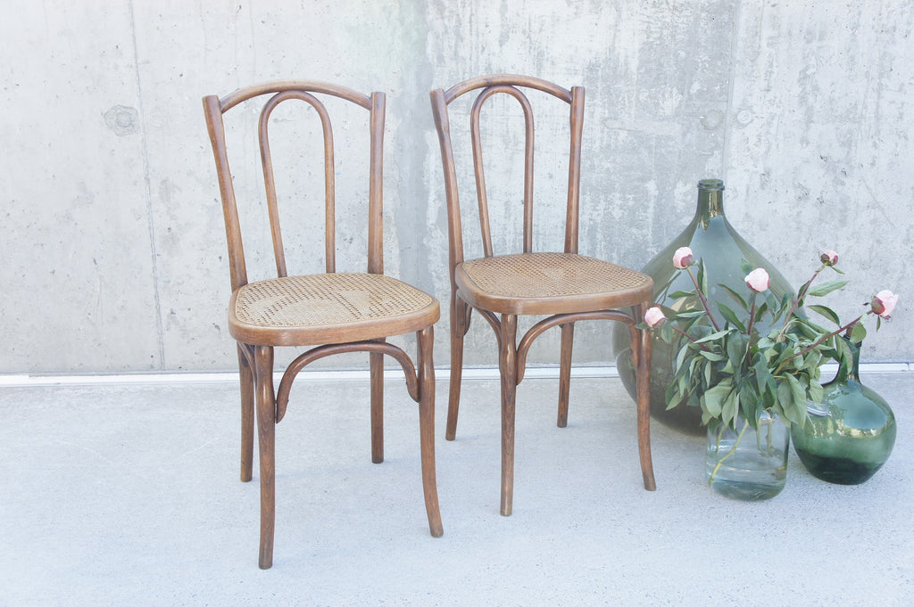 Pair of Vintage French Cane Bentwood Bistro Chairs