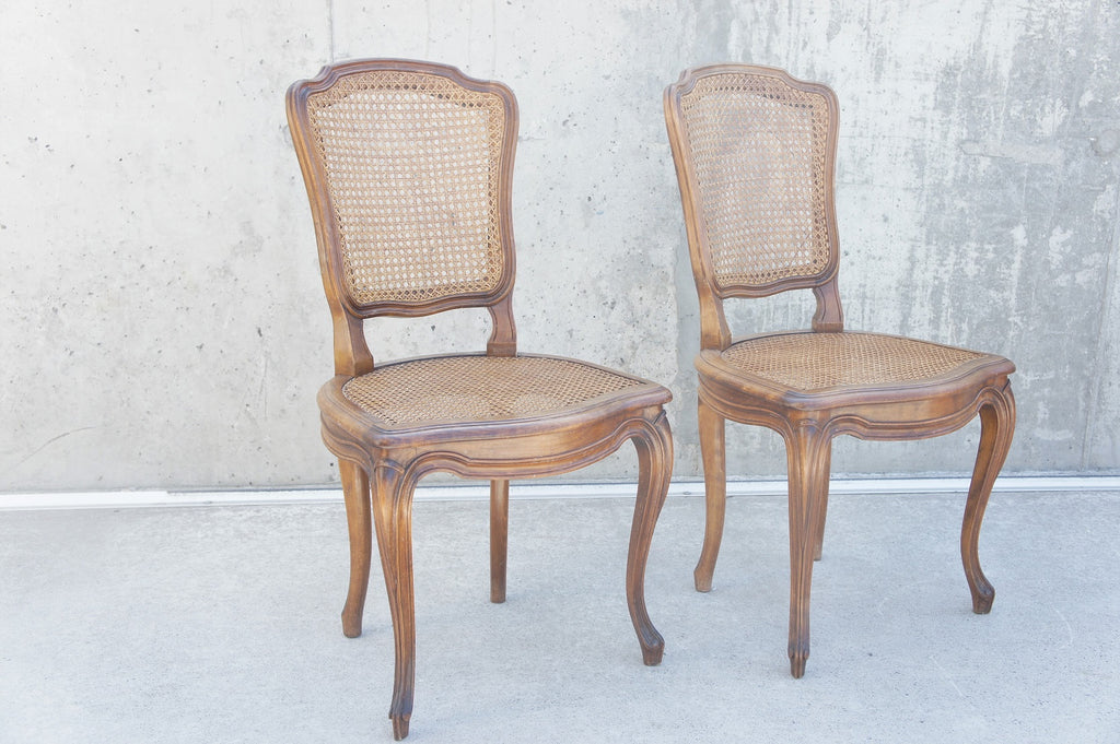 Pair Decorative Cane Dining Bedroom Chairs