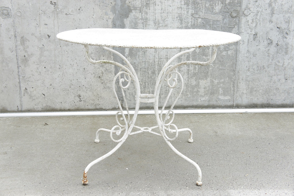 1930's White Perforated Metal Garden Dining Table