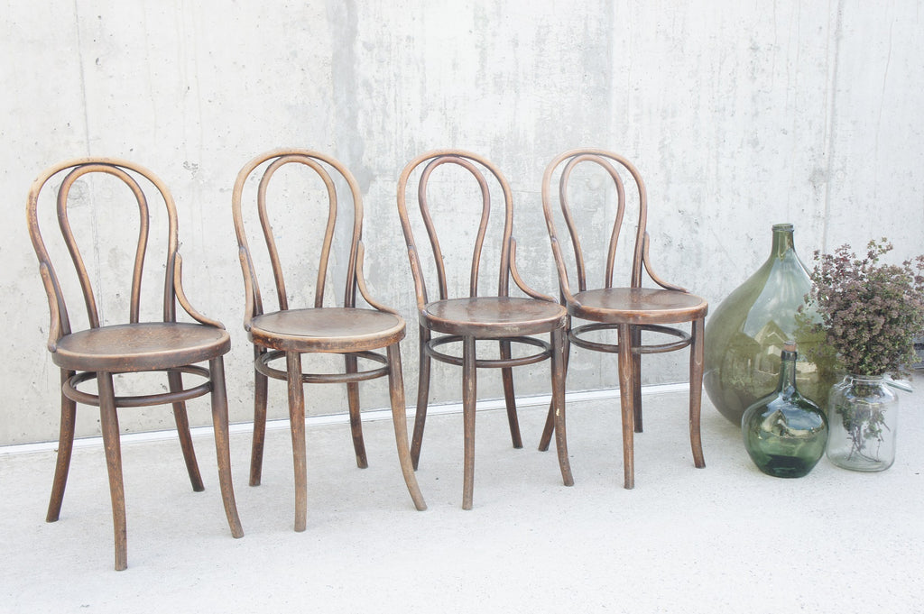 Set of 4 French Bentwood Decorative Bistro Chairs with Round Backs and Embossed Seat Pad