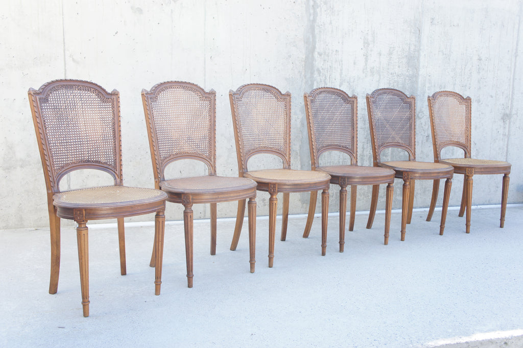 Set of 5 (6) Carved Cane Chairs