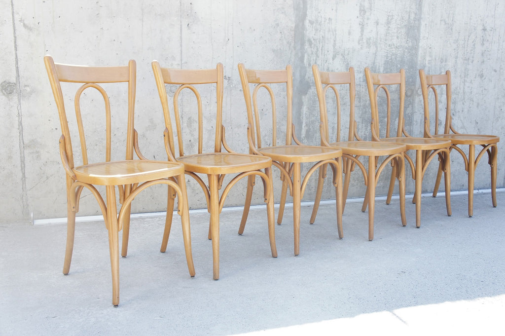 6 Blond Bentwood Bistro Chairs