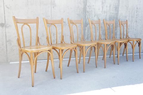 6 Blonde Bentwood Bistro Chairs