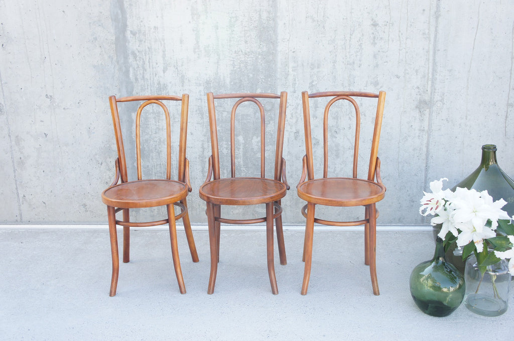 Set of 3 French Bentwood Bistro Chairs