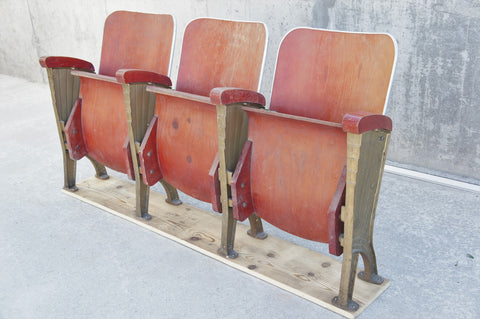 Art Deco Red Bentwood Cinema Seats