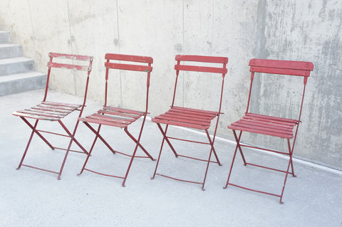Set of 4 Red Folding Bistro Garden Chairs