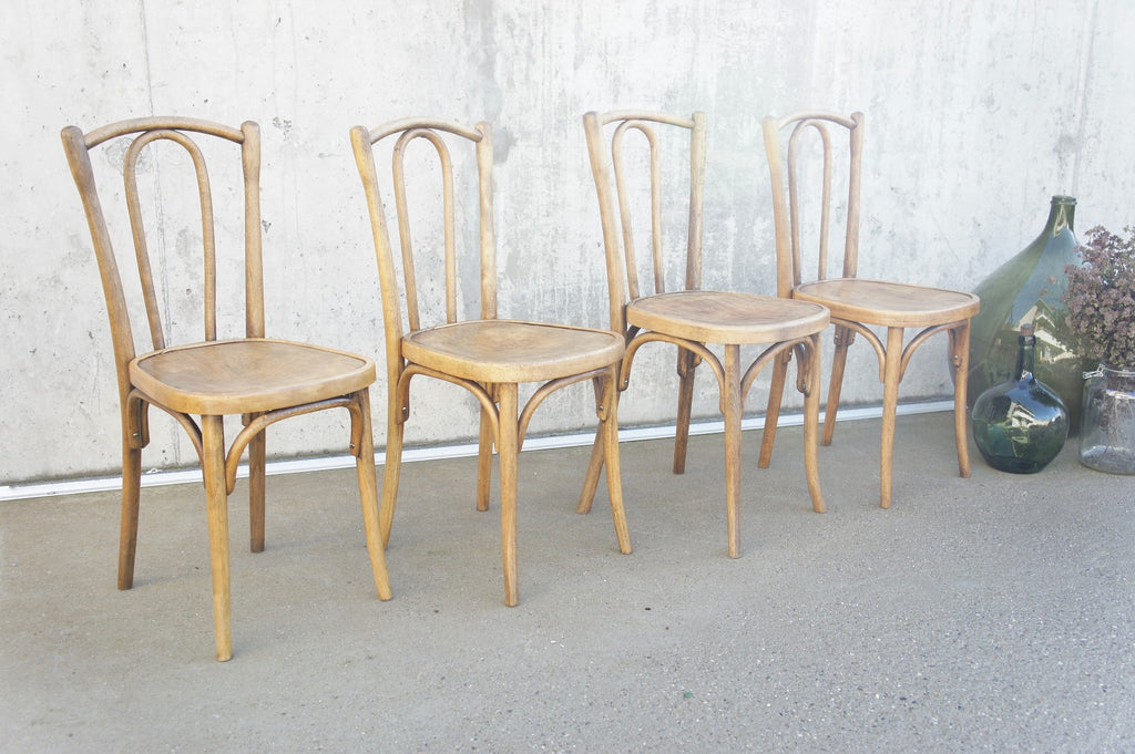 Set of 4 Fischel French Bentwood Bistro Chairs (Marked)