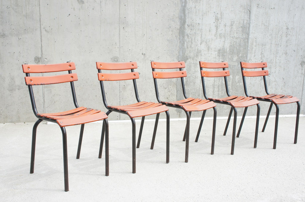 Set of 5 Orange/Black Stacking Tolix Metal Garden Dining Terrace Chairs