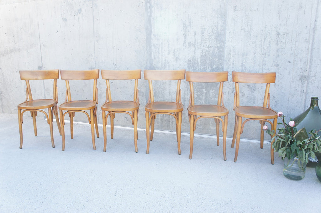 Set of Six Vintage French Bentwood Bistro Chairs