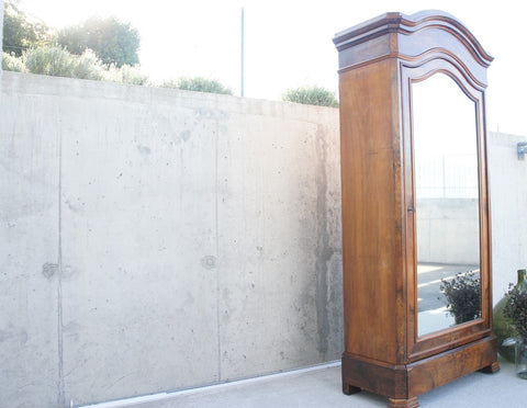 1930's Walnut Wood Single Door French Armoire Wardrobe with Mirror