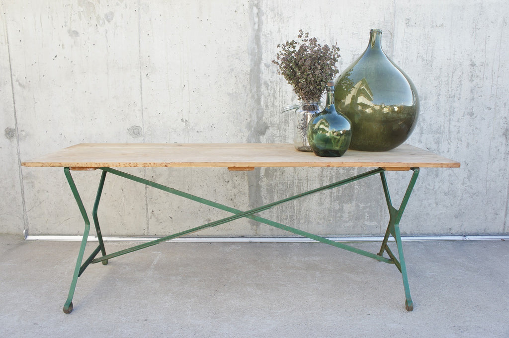 198cm Metal Base Detachable Wooden Top Tressel Table
