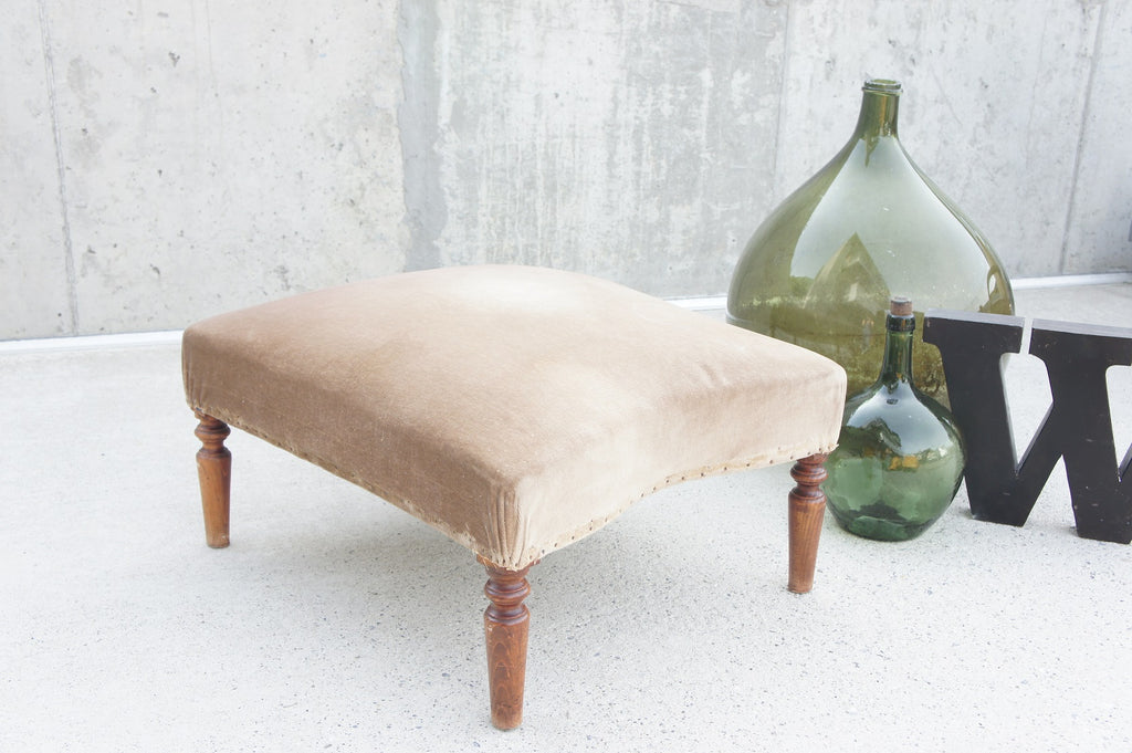 Upholstered Velvet French Footstool with Turned Legs to reupholster