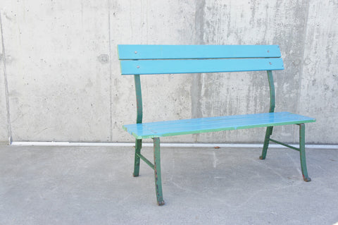 Turquoise Blue Wood and Wrought Iron Bench