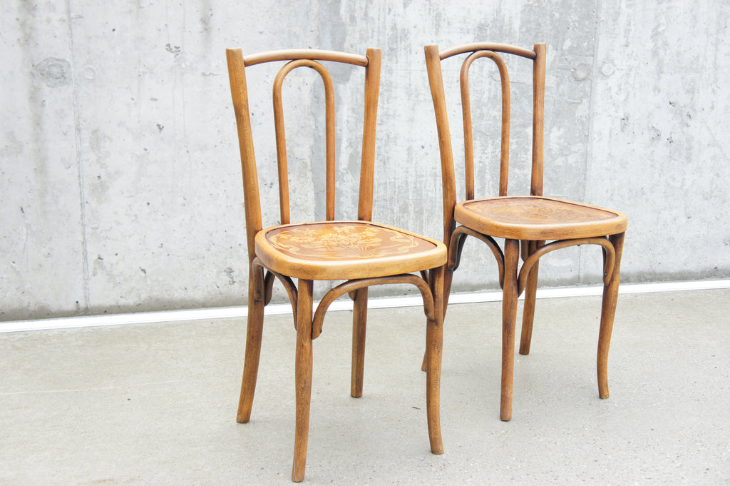Two Embossed Seat Bentwood French Bistro Dining Chairs