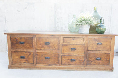 1800's Walnut Shop Counter Sideboard Drawers