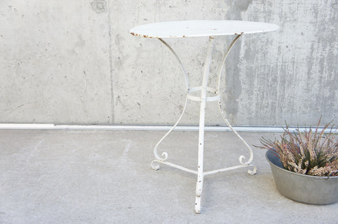 White Metal Gueridon Garden Table