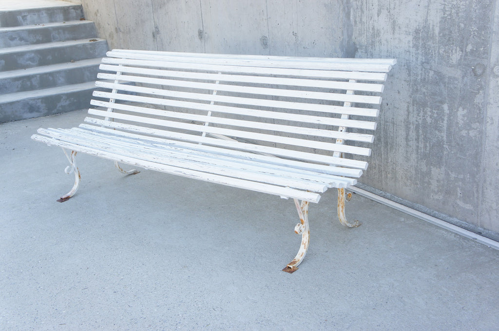 2m Long, White, French, Garden Bench