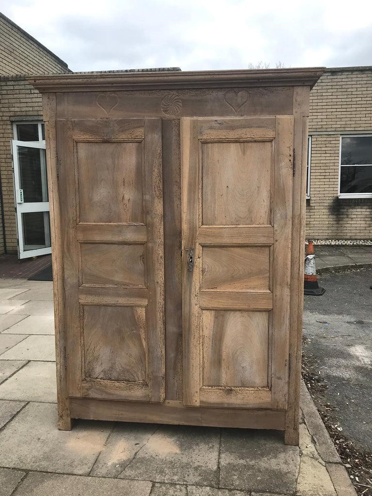 19th Century Rustic French Haute Savoie Carved Bonnetiere Armoire Cupboard