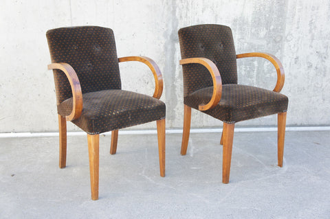 1930 Art Deco Pair Bridge Chairs Ready to Reupholster