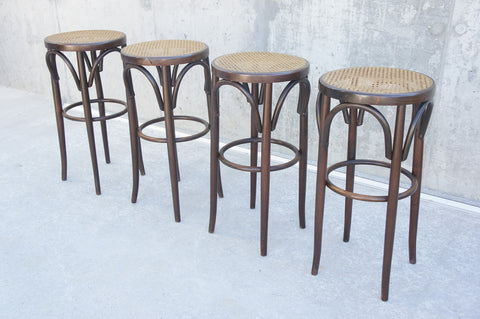 Set 3 Bentwood Cane High Stools