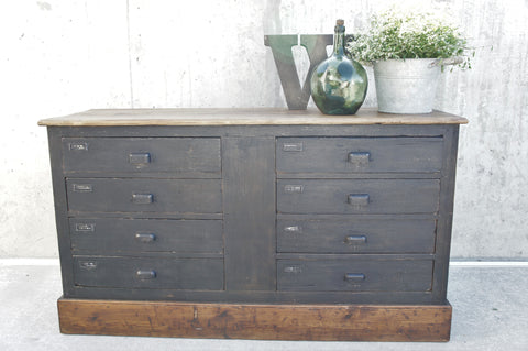 Mechanic's Reclaimed Black Sideboard 8 Drawers