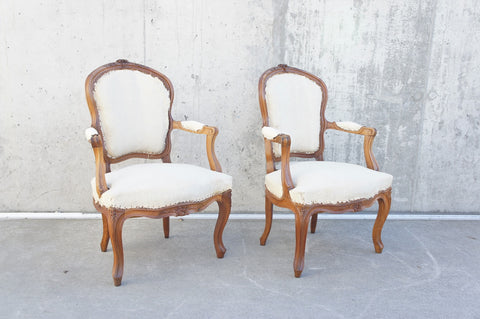Pair Decorative Carved Louis XV Style Armchairs Chairs
