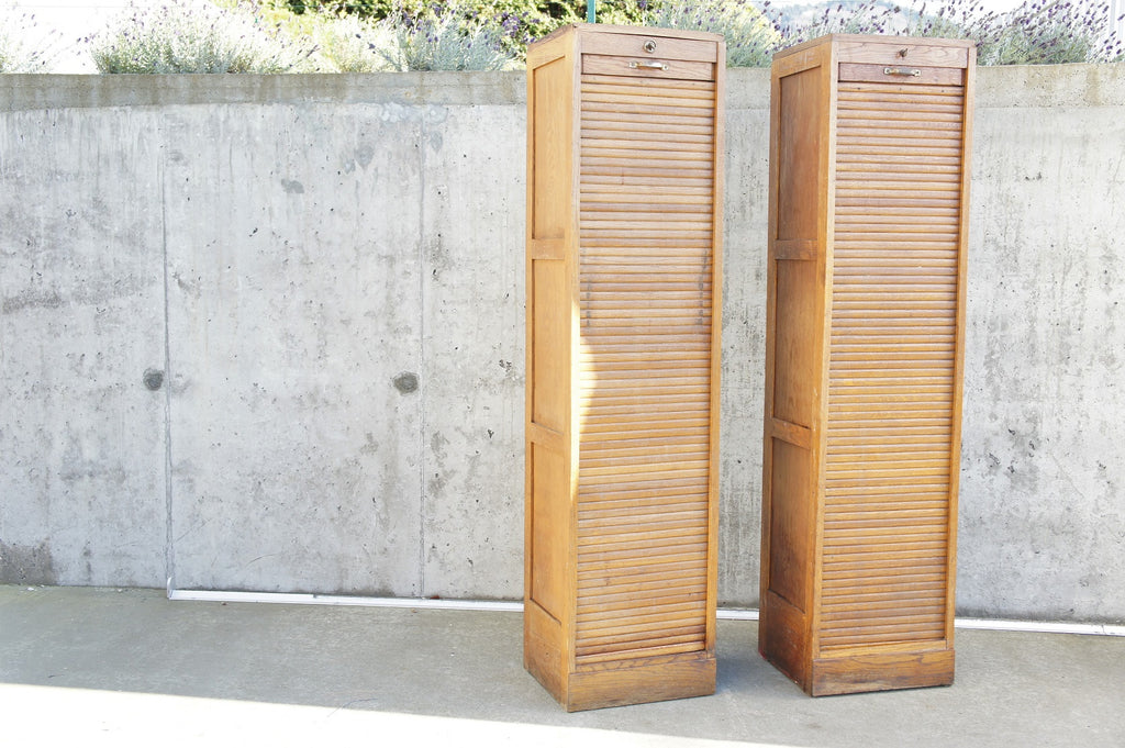 Pair of Matching Single Tambour Filing Cabinet