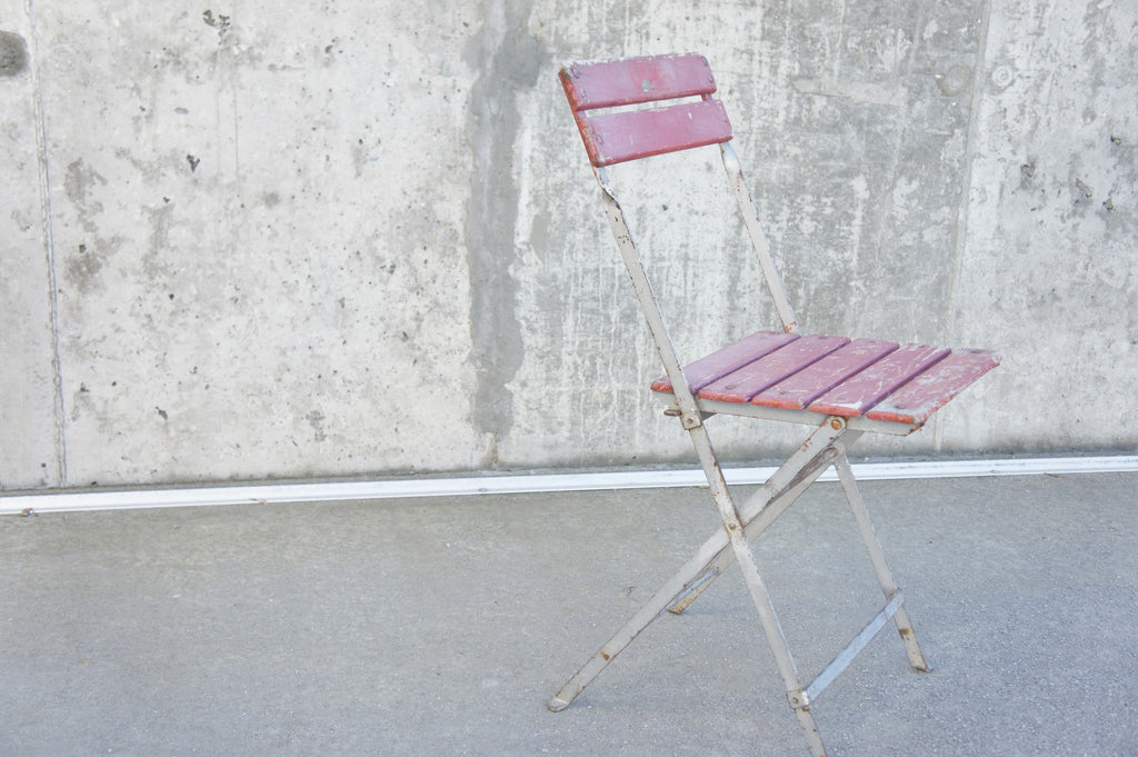 Single Red Folding Bistro Chair