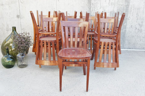 Set of 15 Wooden French Bistro Chairs