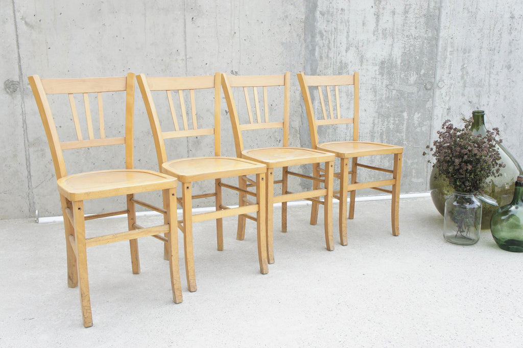 Set of 4 Mid Century Luterma Style French Bistro Church Chairs