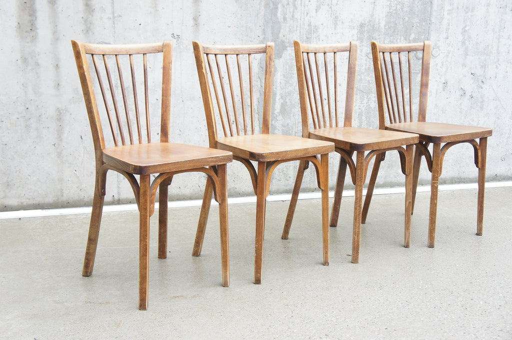 Set of 4 Wooden Model 82 Baumann Bistro Dining Chairs