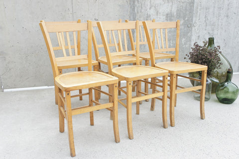 Set of 6 Mid Century Luterma Style French Bistro Church Chairs