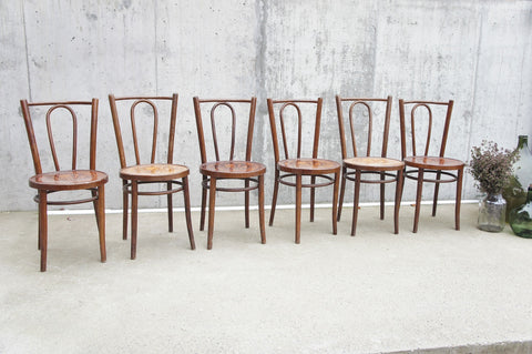 Set of 6 Water Lily Design Bentwood French Bistro Chairs