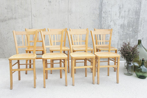 Set of 8 Mid Century Luterma Style French Bistro Church Chairs
