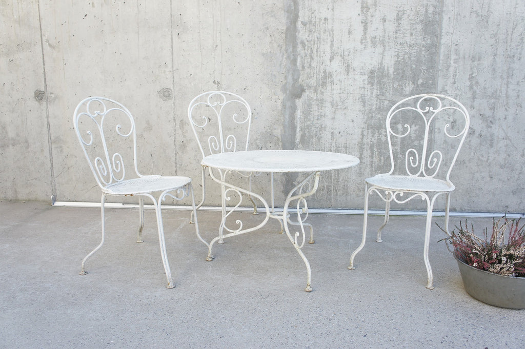 Set of 3 Metal Garden Chairs and Low Circular Coffee Table