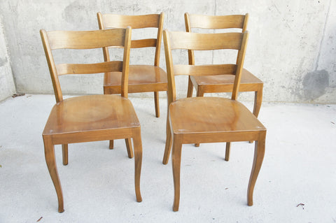 Set of 4 Baumann Style 1960's Bentwood Bistro Dining Chairs