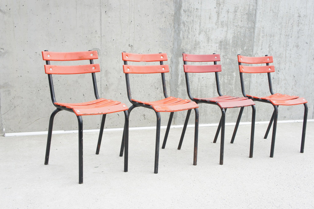 Set of 4 Orange/Red/Black Stacking Tolix Metal Garden Dining Terrace Chairs