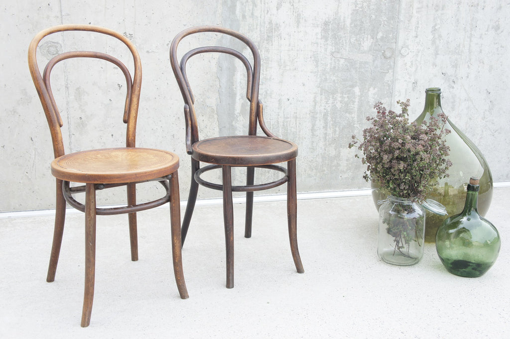 Two Individual Bentwood French Bistro Dining Chairs