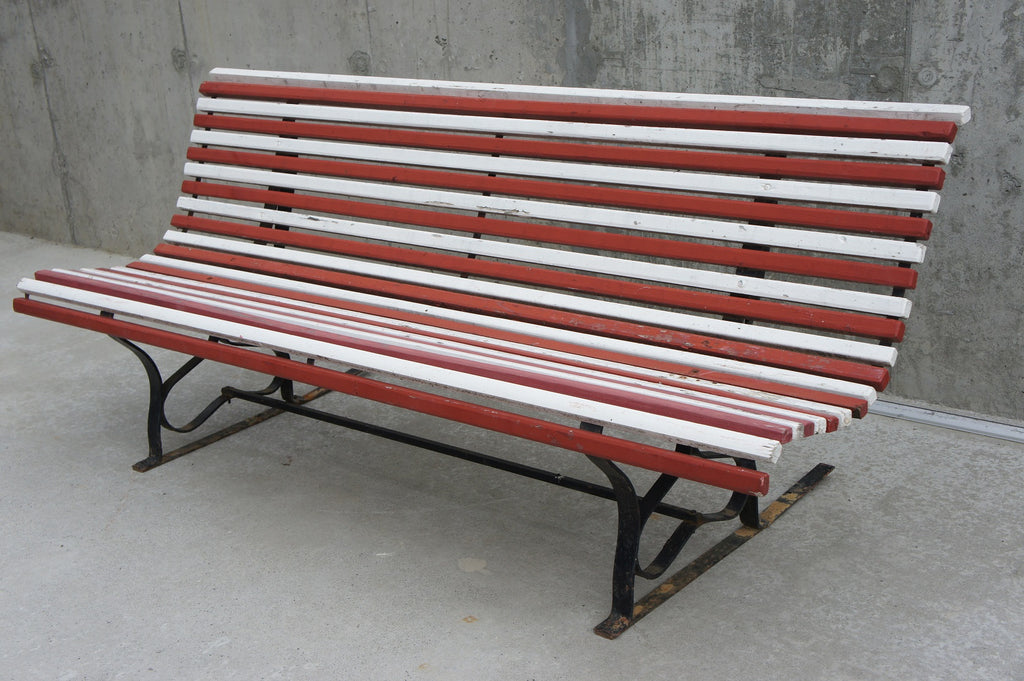 Terrific Pair Of Red And White Garden Bench To Repaint To Suit Your Colour Scheme Ncnpc Chair Design For Home Ncnpcorg